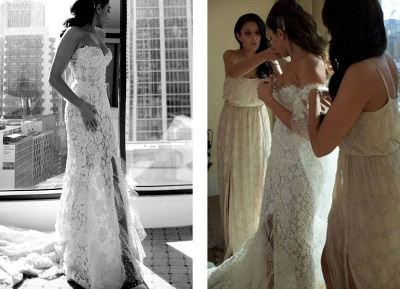 Gorgeous Sweetheart Lace Mermaid Wedding Dresses Front Split Bridal Dresses with Tulle Wrap_5
