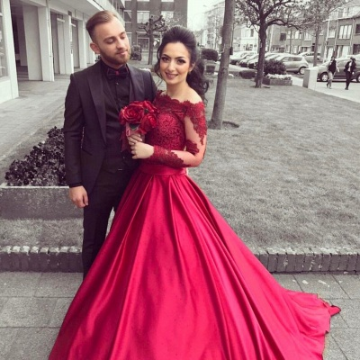 Red Long Sleeves Off Shoulder Evening Dresses |  Elegant Appliques Ball Formal Dress_4
