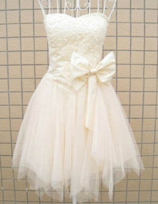 Tulle Lovely Bridesmaid Dress  with Bowknot Strapless Appliques Party Dress_2