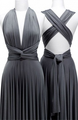 Deep V-Neck Gray Sexy Party Dress Crossed Back Satin  Long Evening Dresses with Sash_1