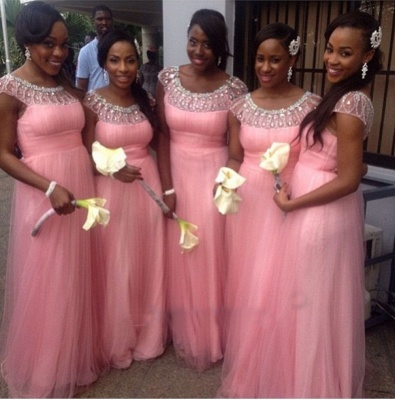 Pink Tulle Crystal Empire Short Sleeve Bridesmaid Dresses with Beadings Floor Length Cute Wedding Dress_2