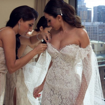 Gorgeous Sweetheart Lace Mermaid Wedding Dresses Front Split Bridal Dresses with Tulle Wrap_3