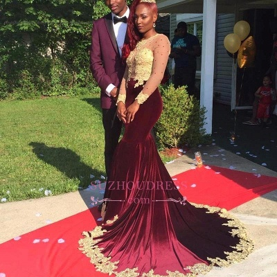 Gorgeous Appliques Burgundy Evening Dresses  Long Sleeve Velvet Prom Dress_2
