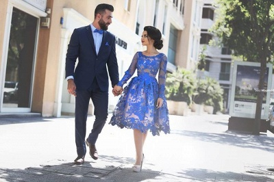 Cute Long Sleeve Royal Blue Homecoming Dress Custom Made Knee Length Plus Size Evening Dress MH040_5