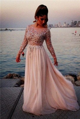 Shining Top Scoop Prom Dresses Long Sleeves Crystals Beading Chiffon Long A-line Evening Gowns_1