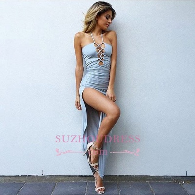 Bodycon Sleeveless Sexy Summer Party Dress Front Split Spaghetti Strap  Ball Dress_1