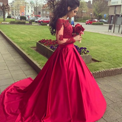 Red Long Sleeves Off Shoulder Evening Dresses |  Elegant Appliques Ball Formal Dress_3