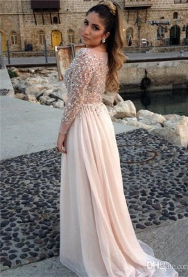 Shining Top Scoop Prom Dresses Long Sleeves Crystals Beading Chiffon Long A-line Evening Gowns_2