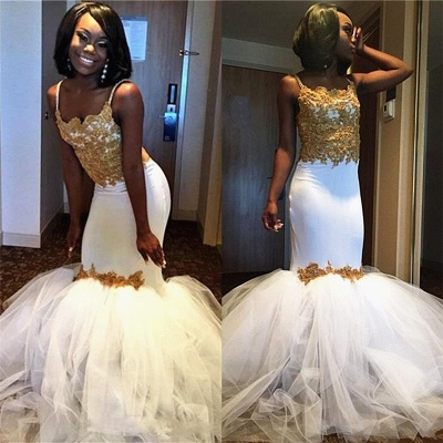 Gold Lace Appliques Prom Dresses  | Sheath Puffy Tulle Straps Evening Dress Sexy_4