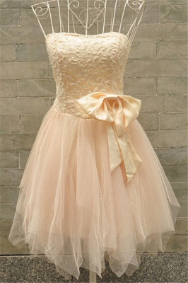 Tulle Lovely Bridesmaid Dress  with Bowknot Strapless Appliques Party Dress_1