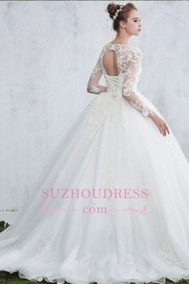 New Arrival Sexy Jewel White Long-Sleeve Ball Gown Lace Wedding Dresses_1