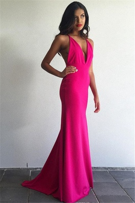 V-Neck Sheath Prom Dresses  Sleeveless Floor Length Simple Evening Gowns_3