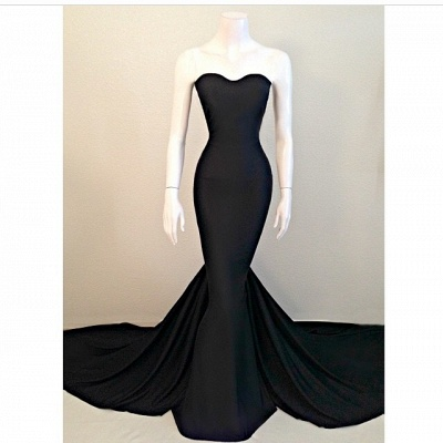 Sweetheart Black Mermaid  Evening Dresses Sexy Simple Court Train Party Dresses TB0024_2