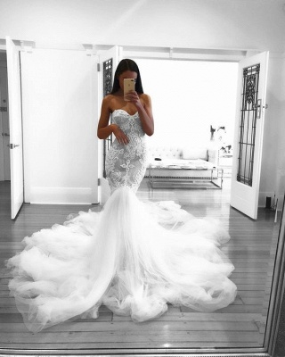 Glamorous Mermaid Wedding Dresses Sweetheart Lace White Bridal Gowns Online_4