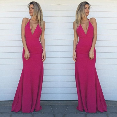 V-Neck Sheath Prom Dresses  Sleeveless Floor Length Simple Evening Gowns_4