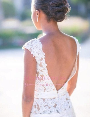 Mermaid Cap Sleeves lace Appliques Wedding Gowns  Tulle Open Back Wedding Dress Outdoor_5