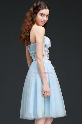 Flowers Short Lace-Up Embroidery Sweetheart Tulle Gorgeous Homecoming Dress_2