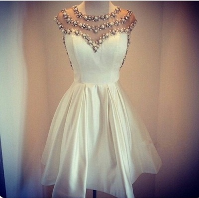 Beaded Sheer Top  Homecoming Dress White Miniskirt Pearls Cocktail Dress_2