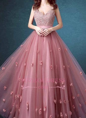 Lace Floral Appliques Evening Dresses  Sleeveless Long Prom Dresses_5