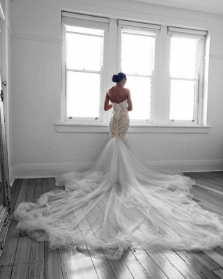 Glamorous Mermaid Wedding Dresses Sweetheart Lace White Bridal Gowns Online_3