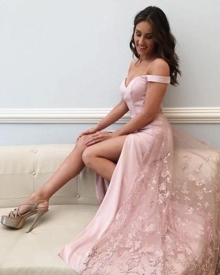 Pink Off Shoulder Sheath Prom Dresses | Side Slit Lace Evening Dresses_3