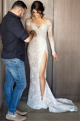 New Full Lace Split Wedding Dresses Illusion Back Bridal Gowns with Detachable Satin Skirt_7