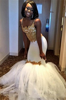 Gold Lace Appliques Prom Dresses  | Sheath Puffy Tulle Straps Evening Dress Sexy_3