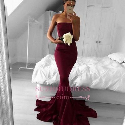 Modern Sweep-Train  Burgundy Strapless Mermaid Sleeveless Prom Dress BA5124_1