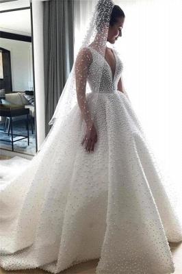 Gorgeous Ball Dresses Wedding Dresses V-Neck Sleeveless Beading Princess Bridal Gowns On Sale_1