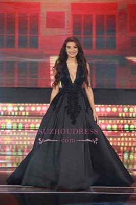 Sexy Black Sleeveless V-Neck Lace-Appliques Evening Dress_2