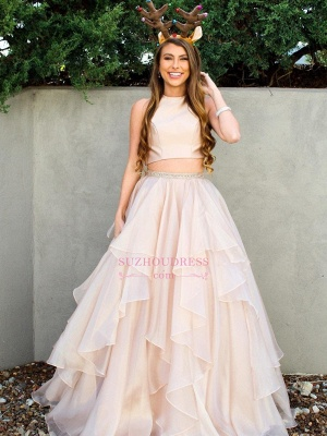 Chic Baby Pink Two Pieces Evening Dresses | Jewel A-Line Sleeveless Tiered Prom Dresses_3