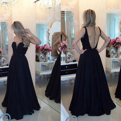 Sweetheart Black Chiffon Evening Gowns with Beadings A-Line Open Back Prom Dress_3