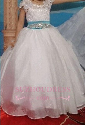 Blue Sash Short Sleeves Crystals Girls Pageant Dress Puffy Tulle Flower Girl Dresses BA3744_3
