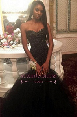 Tulle Sequins Sweetheart Puffy Evening Gown  Amazing Black Beaded Mermaid Prom Dress_2