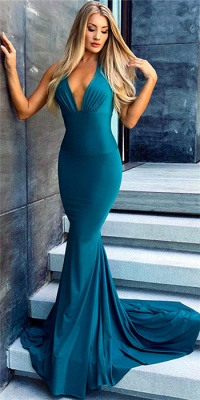 Sexy Simple Mermaid Evening Dresses |  Deep V-Neck Open Back Formal Dresses_1