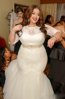 White Lace Sexy Mermaid Plus Size Wedding Dress Half Sleeve Custom Made Bridal Gown_4