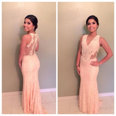 Sheer Back V-Neck Lace Mermaid  Evening Dresses Applique Sexy long Prom Dress_3