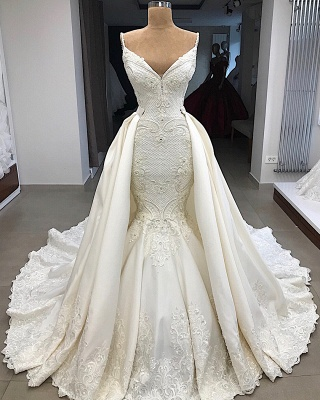 Gorgeous Appliques Detachable Satin Backless Wedding Dresses Spaghetti Straps Lace Fit and Flare Bridal Gowns with Overskirt On Sale_6
