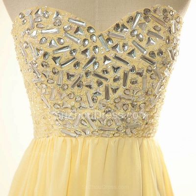 New Arrival Sweetheart Yellow Long Prom Dress Rhinestones Chiffon Lace-Up Plus Size Gowns_3