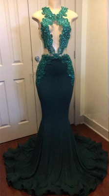 Dark Green Sexy Mermaid Crystals Prom Dress | Sparkling Appliques Open Back Real Evening Dress FB0325-MQ0_2