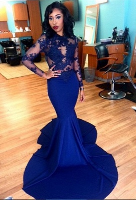 Royal Blue Long Sleeve Mermaid Evening Gown Sexy Court Train Lace Party Dress CE0128_2