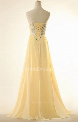 New Arrival Sweetheart Yellow Long Prom Dress Rhinestones Chiffon Lace-Up Plus Size Gowns_2