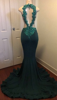 Dark Green Sexy Mermaid Crystals Prom Dress | Sparkling Appliques Open Back Real Evening Dress FB0325-MQ0_4