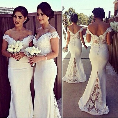 Sexy Mermaid Off The Shouler  Bridesmaid Dresses Sheer Lace V Neck Plus Size Maid Of Honor Dress_3