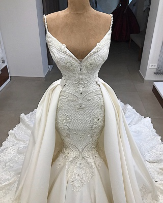 Gorgeous Appliques Detachable Satin Backless Wedding Dresses Spaghetti Straps Lace Fit and Flare Bridal Gowns with Overskirt On Sale_3