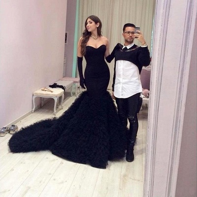 Black Mermaid Sweetheart Prom Dresses  Ruffles Tulle Strapless  Evening Gowns_3