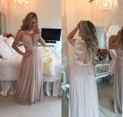 New Arrival Pearl Pink Chiffon Prom Dress A-Line Lace Applique Long Evening Gowns BMT026_3