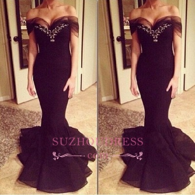 Sexy Off-the-Shoulder Crystal Mermaid Evening Gowns  Sweep-Train Prom Dress_3