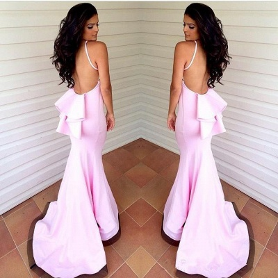 Sexy Mermaid Pink Backless Bridesmaid Dresses Hlater Custom Made Long Gowns_3
