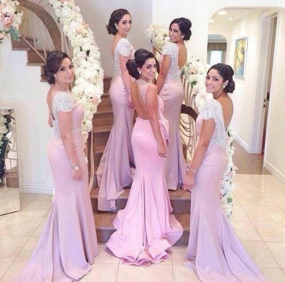 Elegant Crystal Short Sleeve Wedding Party Dresses Backless Sweep Train Fitted Bridesmaid Dresses cap121_2